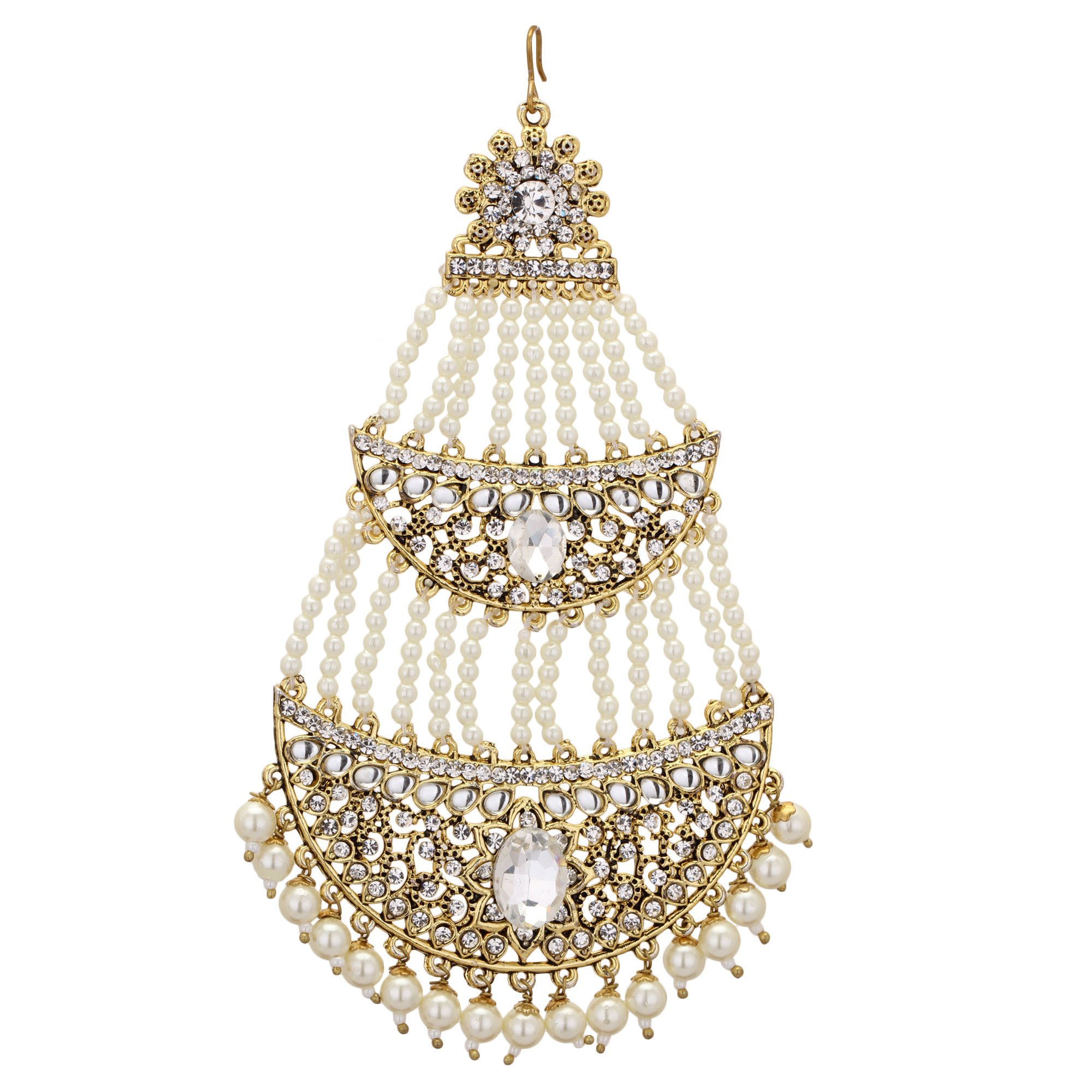 Jwellmart Indian Ethnic Collection Gold Polish CZ Faux Pearl Passa/Jhoomer for Women and Girls