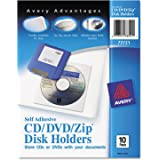 Avery Self-Adhesive CD/DVD/Zip Pockets, Pack of 10 (73721)