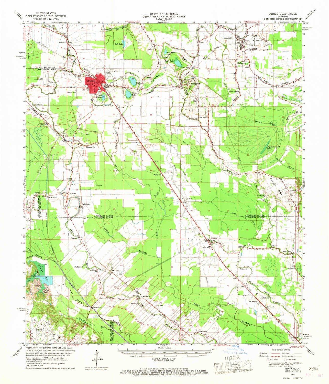 Geographic Map Of Louisiana.Amazon Com Yellowmaps Bunkie La Topo Map 1 62500 Scale 15 X 15