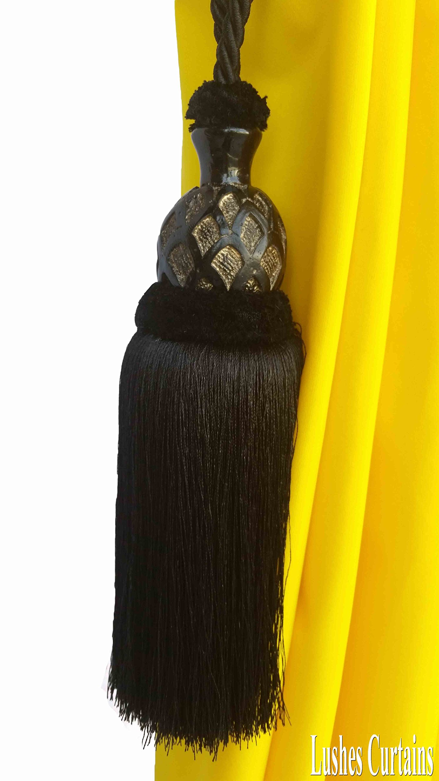 1 Luxury Handmade Black Color w/Wood Single Tassel Rope Tie Back Window Treatment Curtain Drapery Vintage Look 2 Spread Cord Holdback Decor Tieback/Pull Back by Lushes Curtains (Image #3)