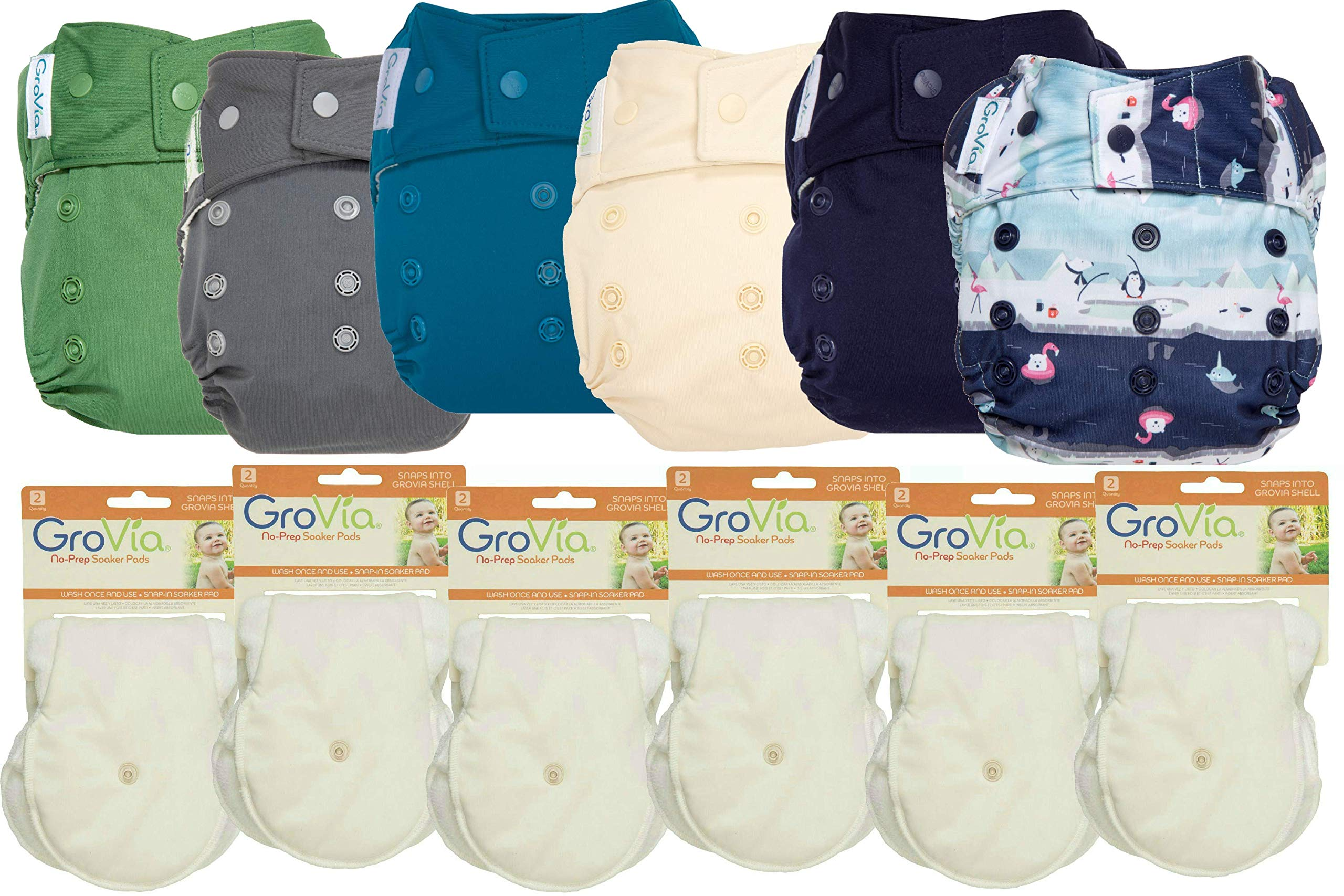GroVia Hybrid Part Time Package: 6 Shells + 12 No Prep Soaker Pads (Color Mix 5 - Snap)