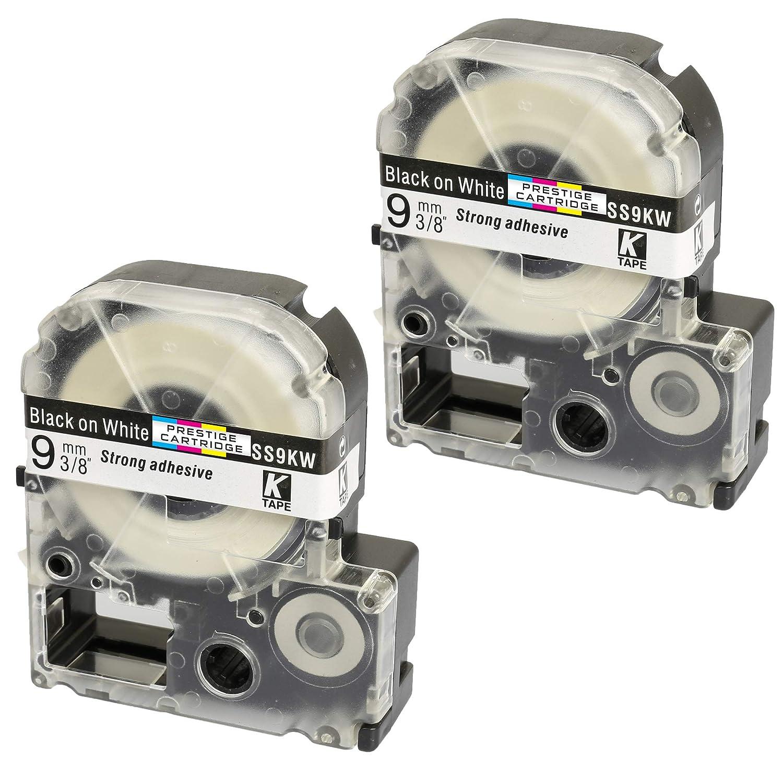 5 Compatibles LC-4WBN SS12KW 12mm x 8m Negro sobre Blanco Cintas para impresoras de etiquetas Epson LabelWorks LW-300 LW-300L LW-400 LW-500 LW-600P LW-700 LW-900P LW-1000P
