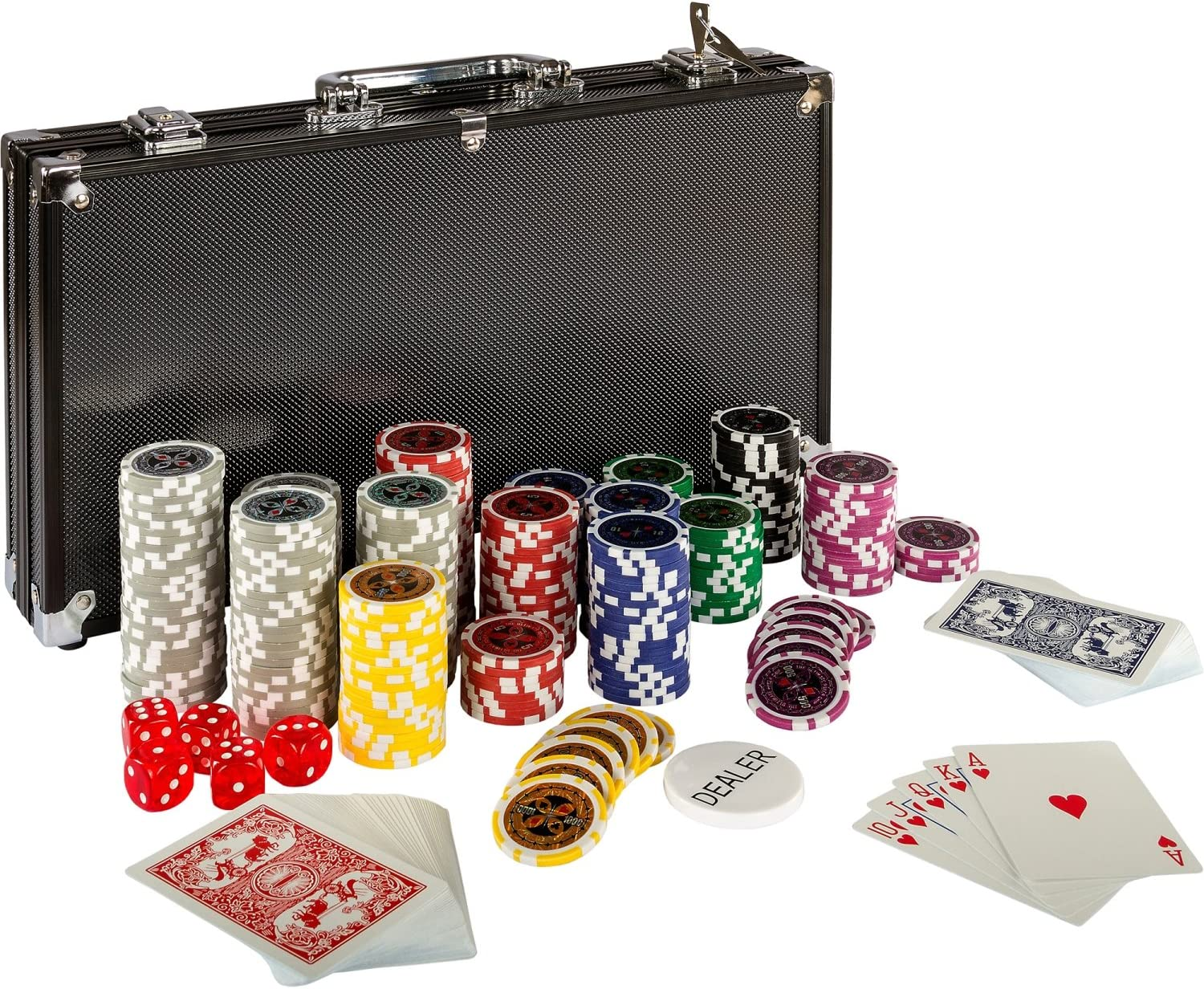 Ultimate Black Edition Poker Set 300 Laser Chips 12 Grams Metal Core 100 Plastic Cards 2 Poker Decks Aluminium Poker Case 5 Dice Dealer Button Amazon Co Uk Sports Outdoors