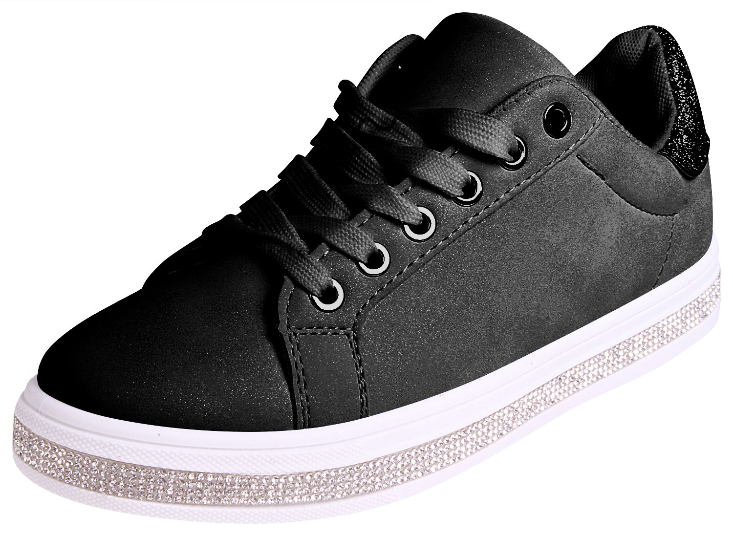 Enimay Womens Glitter Fashion Sneakers Lace up Shoes B07BSY3RY4 9 B(M) US|Black