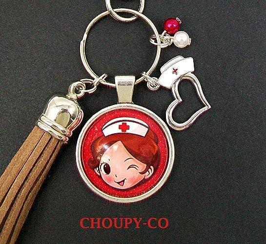 Llavero cabujón bolsa joya * enfermera * rojo marrón ...
