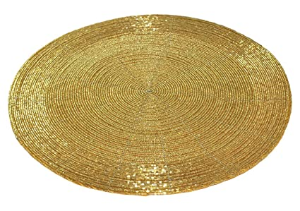 Vdecors Decorative Handmade Beaded Golden Round Placemat Perfect for Dining Table (30 cms, Dia - 12, Pack of - 1)