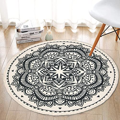 SHACOS Round Cotton Rug Woven Tassel Throw Rug 4 ft Washable Area Rug