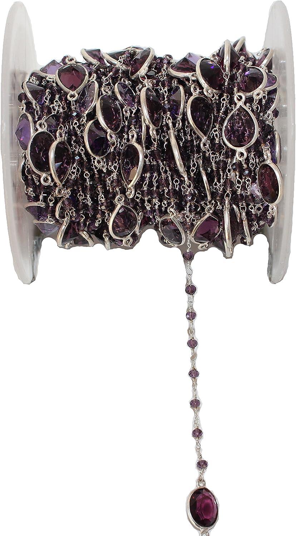 Amethyst Beads – Cadena de cuentas amatista – Rosario – cadena de cuentas de piedras preciosas – Amethyst Bezel Bazari cadena de cuentas chapada en plata – Amatista cuarzo