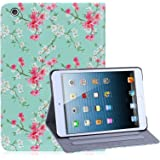 32nd Floral Series - Design PU Leather Book Folio Case Cover for Apple iPad Mini 1, 2 & 3, Designer Flower Pattern Flip Case With Built In Stand - Spring Blue