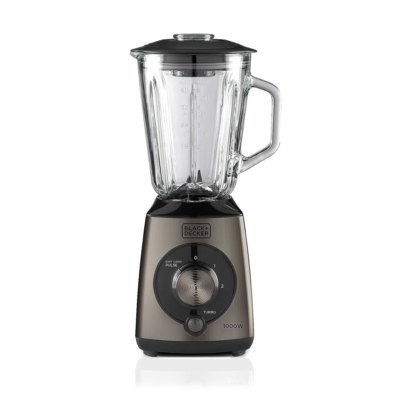 BLACK+DECKER BXJB1000E Frullatore a Bicchiere, 1000 W, 1.5 Litri, Plastica, Nero/Acciaio ES9120050B