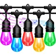 2-Pack 48FT String Lights Outdoor Sync with Music, LED RGB Color Changing Waterproof Patio Lights String, Hanging Lights with