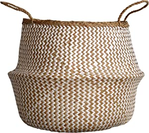 dufmod Small Natural and Plush Woven Seagrass Tote Belly Basket for Storage, Laundry, Picnic, Plant Pot Cover, and Beach Bag (Plush Zigzag Chevron Seagrass White, Small)