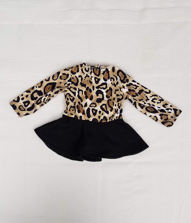 Leopard Print Long Sleeve Skate Dress Fits American Girl