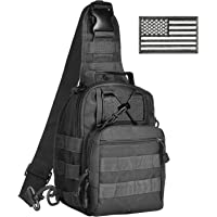 CVLIFE Sling Pack Bag Outdoor Tactical Backpack Chest Pack with American Flag Velcro Patch