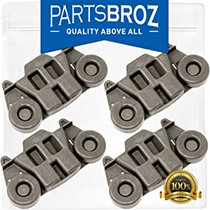 W10195416 (4-Pack) Lower Dishrack Wheel Assembly with Steel Screws for Whirlpool by PartsBroz - Replaces AP5983730, W10195416V, PS11722152, W10195416VP