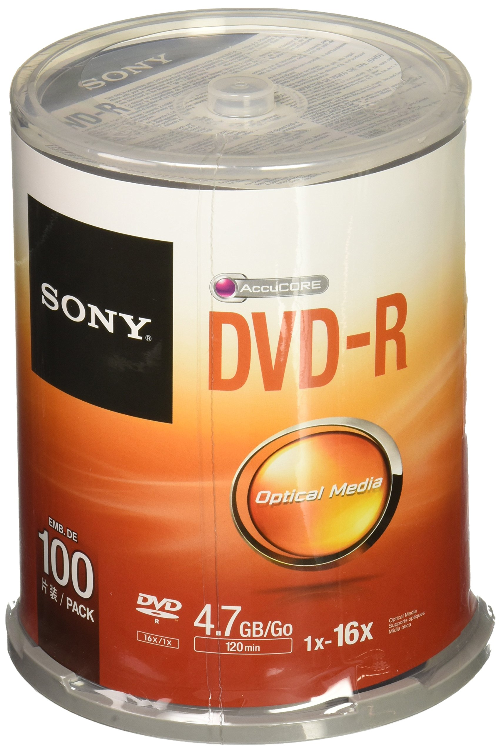 Sony DVD-R 16x Recordable DVD 4.7GB - 100 Disc Spindle (Discontinued by Manufacturer) by Sony