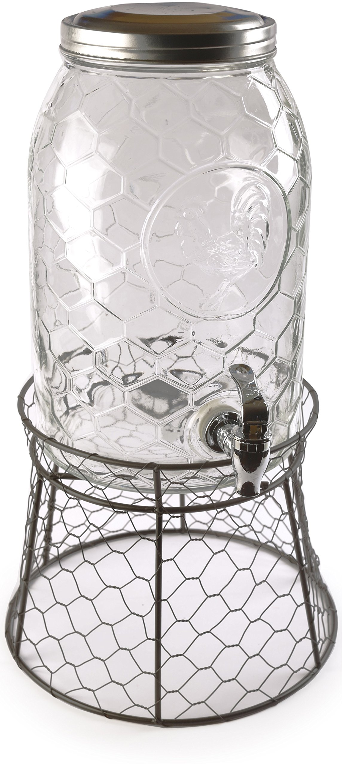 Circleware 69142 Rooster Glass Beverage Drink Dispenser with Stand and Metal Lid Glassware for Water, Iced Tea Kombucha, Punch and All Type of Cold, 1.5 gallon