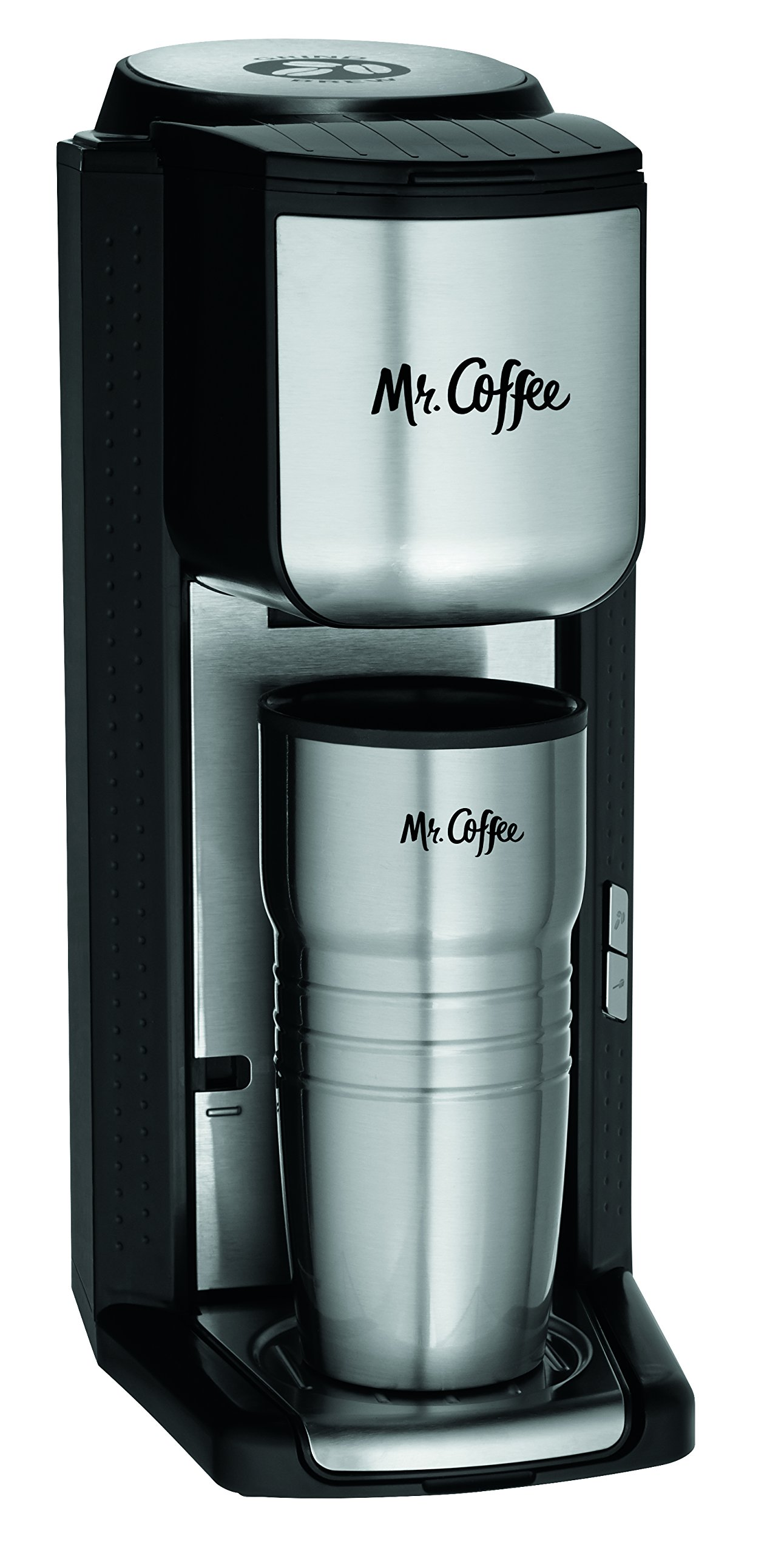Mr. Coffee Single Cup Coffee Maker with Travel Mug and Built-In Grinder by Mr. Coffee