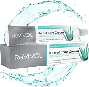 ReVIVOL-XR 5% Lidocaine + Soothing Aloe + Vitamin E, Fast-Acting Ointment Numbing Cream for all topical skin Pain Relief, Burning, Itching - Non-Oily Hemorrhoid Treatment. Made in USA (No Finger COTS)