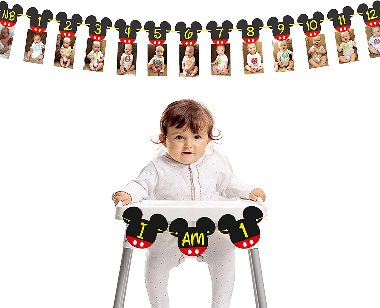 Mickey Mouse Birthday Banners I NB to 12 Month Photo Banner with I am One High Chair Banner I First Birthday Decorations I Mickey Mouse Party Supplies I Picture Frame Banners I Clubhouse Decoration for 1st or 12th Birthday