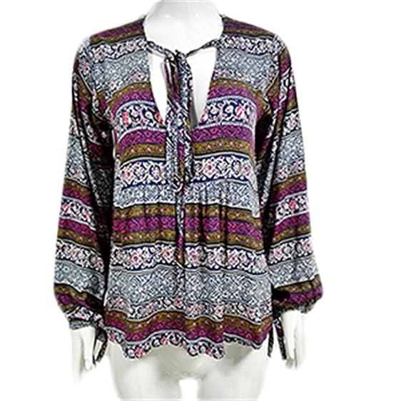 Eloise Isabel Fashion Impresso Mulheres Casual Camisa Blusa Top Boho Bohemian Feminino Túnica Do Vintage Lanterna
