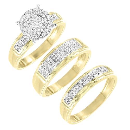 10 K Amarillo Oro Anillos de boda compromiso novia Trio Set 0,40 ct ...