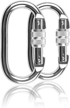 Yoport - 1/2 mosquetón de acero para escalada y escalada (25 KN=2540 kg) con cierre de rosca de gran resistencia para escalada, yoga, senderismo, ...