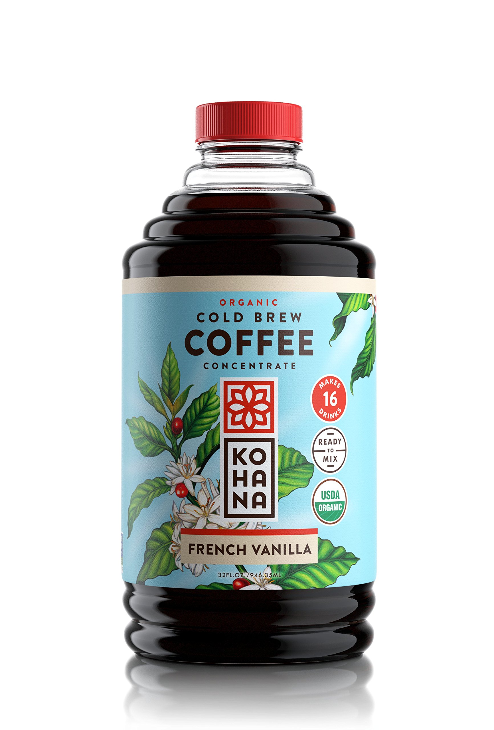 Kohana Cold Brew Coffee Concentrate, Organic, French Vanilla, 32 Ounce, Best Zero Calorie Low Acid Iced Coffee, Instant, Convenient and On The Go, Makes 16 Drinks, Single Bottle
