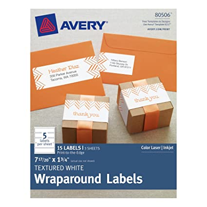Avery Textured Wraparound Labels White 785 X 175 Inches Pack Of 15