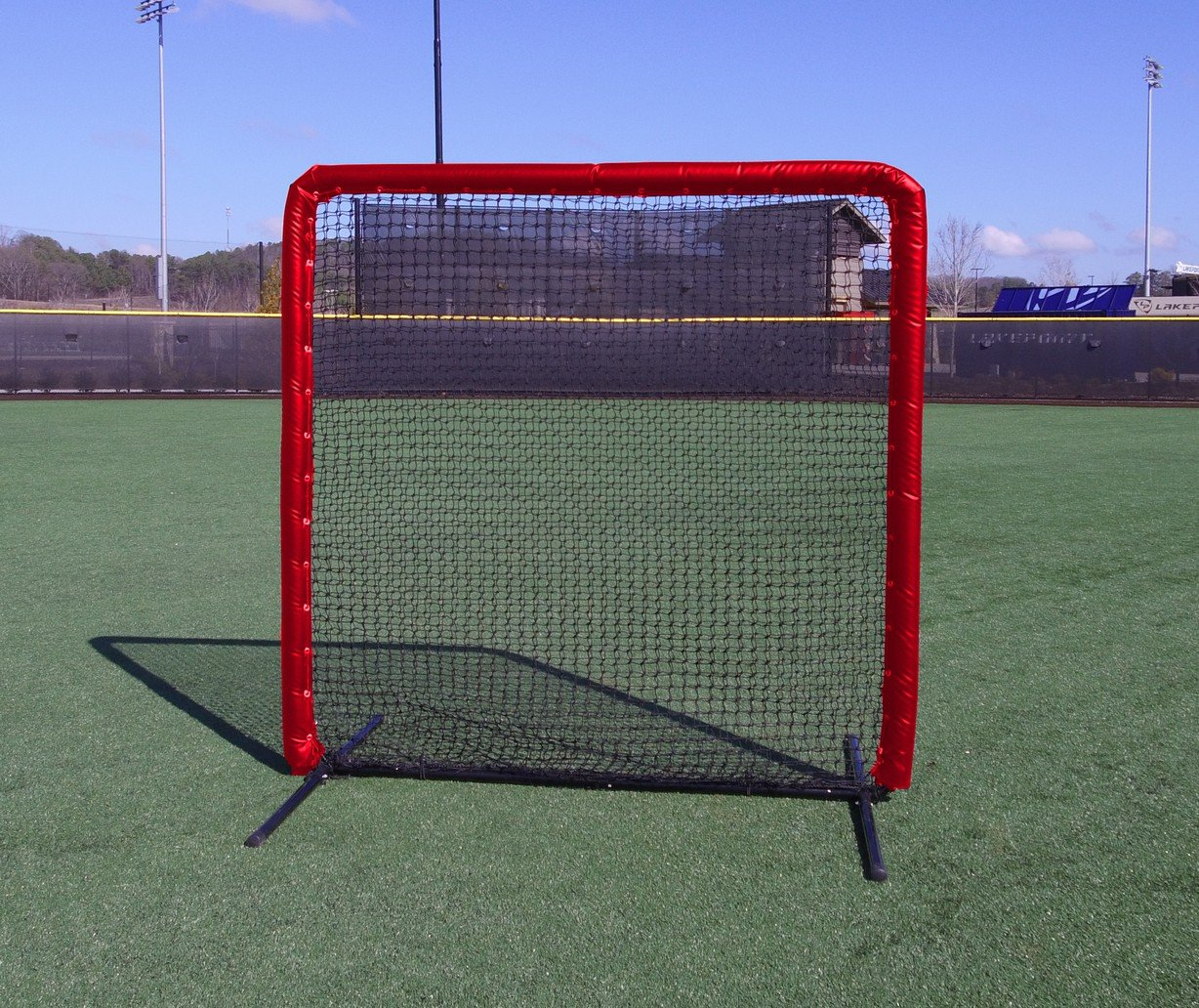Armor Series 7X7 Protective Screen with Screen Bulletz. Baseball/Softball Padded Practice Screen Net with Vinyl Padding. Choose Color! (Red) by Armor