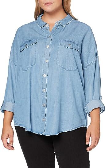 ONLY Carmakoma Carush Life LS Oversize Shirt Camisa, Light Blue Denim, 46 para Mujer