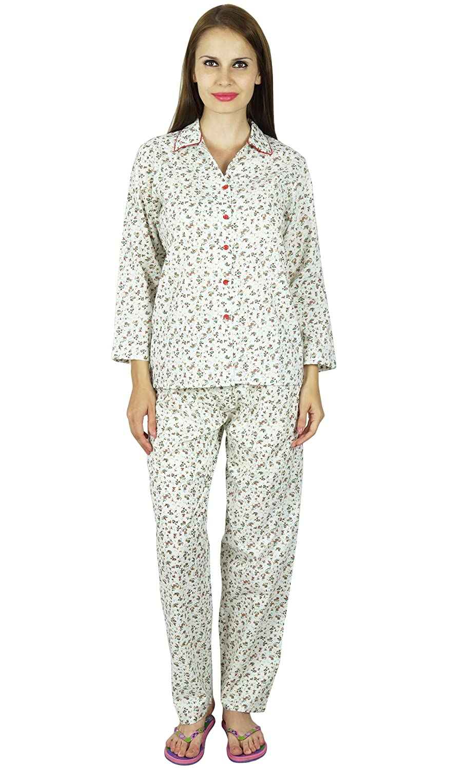 e987e1128d Bimba Women White Cotton Night Wear Pajama Set Full Sleeve Shirt with  Pyjamas at Amazon Women s Clothing store