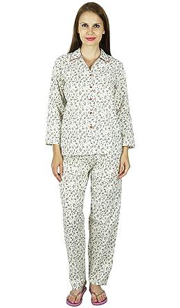 e987e1128d Bimba Women White Cotton Night Wear Pajama Set Full Sleeve Shirt with  Pyjamas at Amazon Women s Clothing store