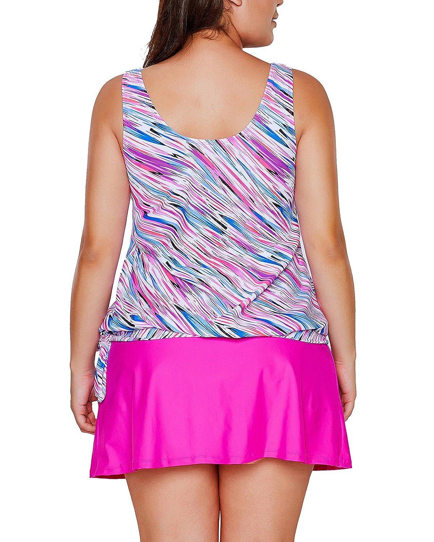 S-XXXL EVALESS Womens Two Piece Printed Tie Side Tankini Tops Skirted Bottom Swimsuit Set