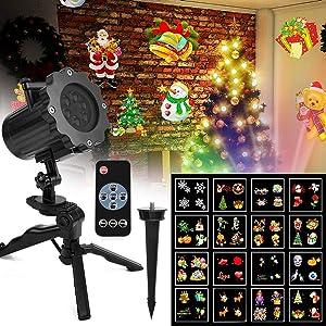 Luces de Proyector Navidad Interior y Exterior Fochea IP65 LED Luces Proyección con 16 Diapositivas&Controlador Remoto Decoración de Jardín Casa para Año Nuevo/Boda/Halloween