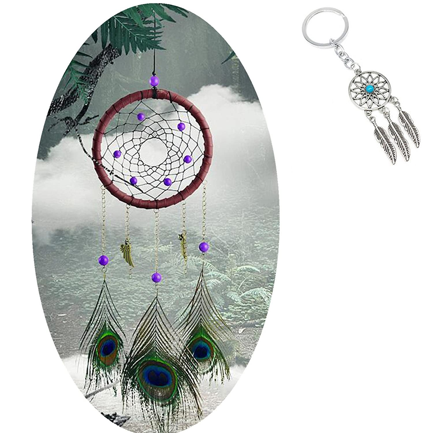 AWAYTR Forest Dreamcatcher Gift Handmade Dream Catcher Net with Feathers Wall Hanging Decoration Ornament (Beige)