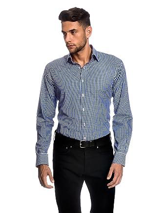 Embraer Herren-Hemd Slim-Fit tailliert bügelleicht 100% Baumwolle kariert -  Männer lang-arm Hemden für Anzug mit Krawatte Business Hochzeit Freizeit  oder ... 89b99554bb