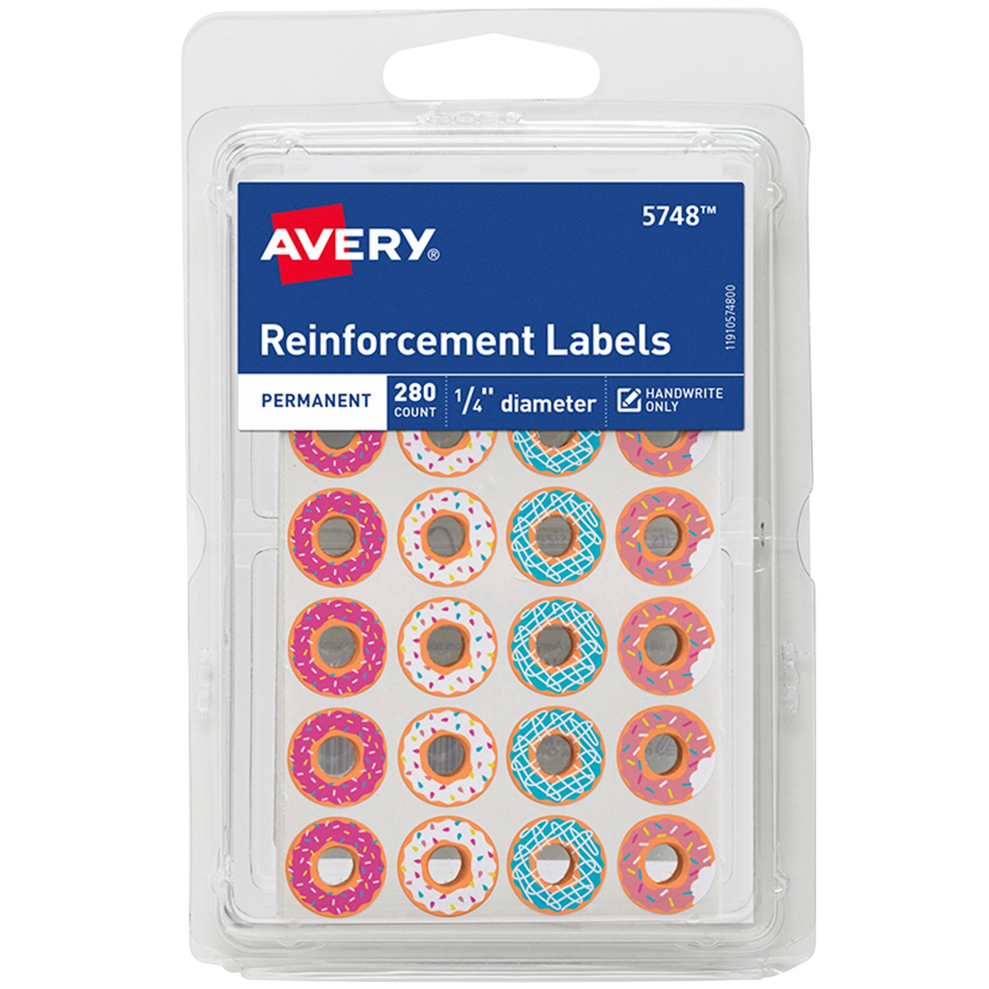 Avery Fashion Reinforcement Labels, Assorted Donut Designs, 1/4'' Diameter, Pack of 280 (5748)