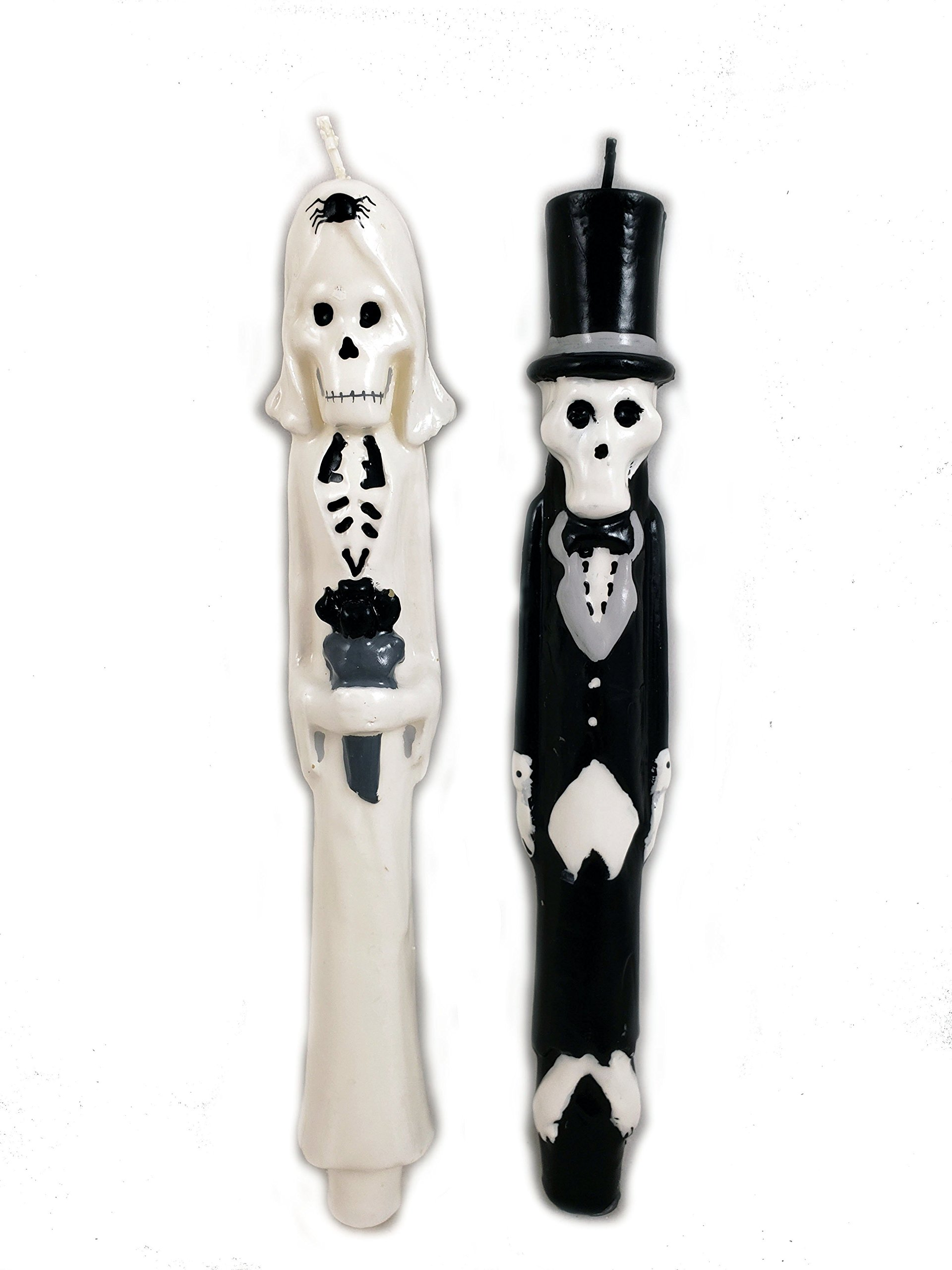 180 Degrees NEWLYDEADS Bride Groom Skeleton Taper Wax Candles Set of 2 Halloween Day Of The Dead