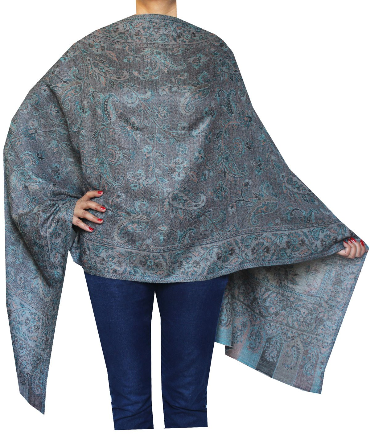 Pure Wool Paisley Shawl Scarves Womens Indian Clothing (80 x 28 inches) Maple Clothing scrf2731816a