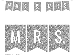 Andaz Press Faux Silver Glitter Lesbian Wedding Party Banner Decorations, Mrs. & Mrs, Approx 5-Feet, 1-Set, Colored Hanging Pennant Decor