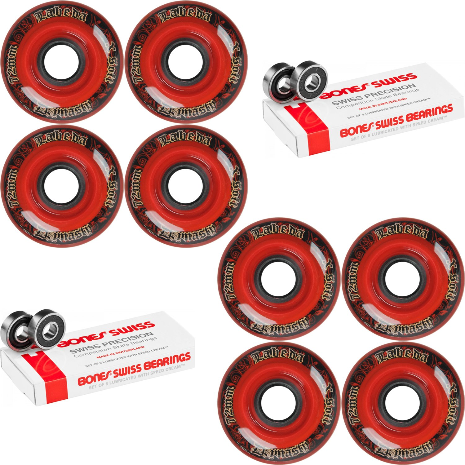 Labeda WHEELS Inline Hockey DYNASTY 3 72mm X-SOFT Red 8-Pack Bones Swiss by Labeda