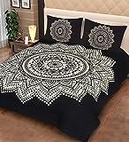 TheUrbanStreet 100% Cotton Double Bedsheet with 2 Pillow Covers - Dark Black, Battik Star