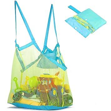 Amazon.com: Bolsa de playa de malla y bolsa para juguetes de ...