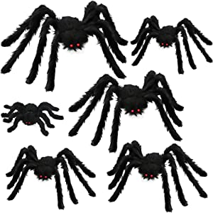 Comken 6 PCS Large Halloween Realistic Hairy Spiders Set, Halloween Spider Decorations, Halloween Spider Set for Indoor Outdoor Yard Haunted House Decorations Party Supplies