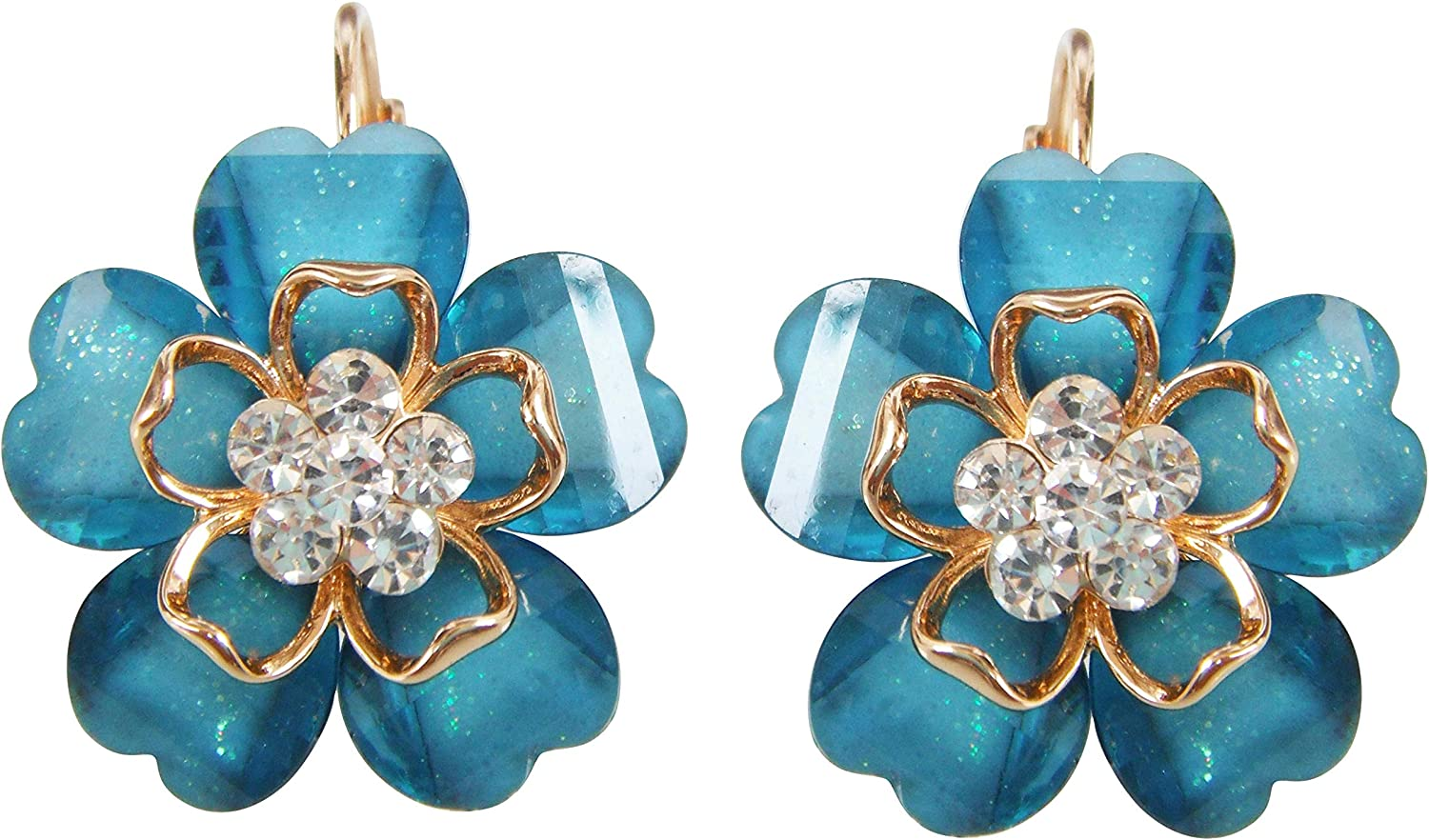 Navachi 18k Gold Plated White Crystal Acetate Blooming Flowers Leverback Earrings