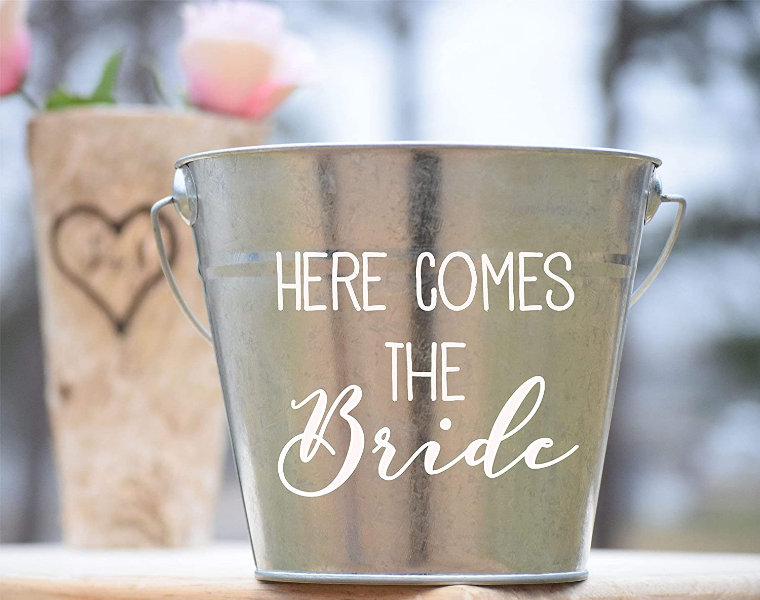 Here Comes The Bride Flower Girl Basket - Rustic Flower Girl - Personalized Flower Girl Bag - Rustic Wedding Bucket - Wedding Basket