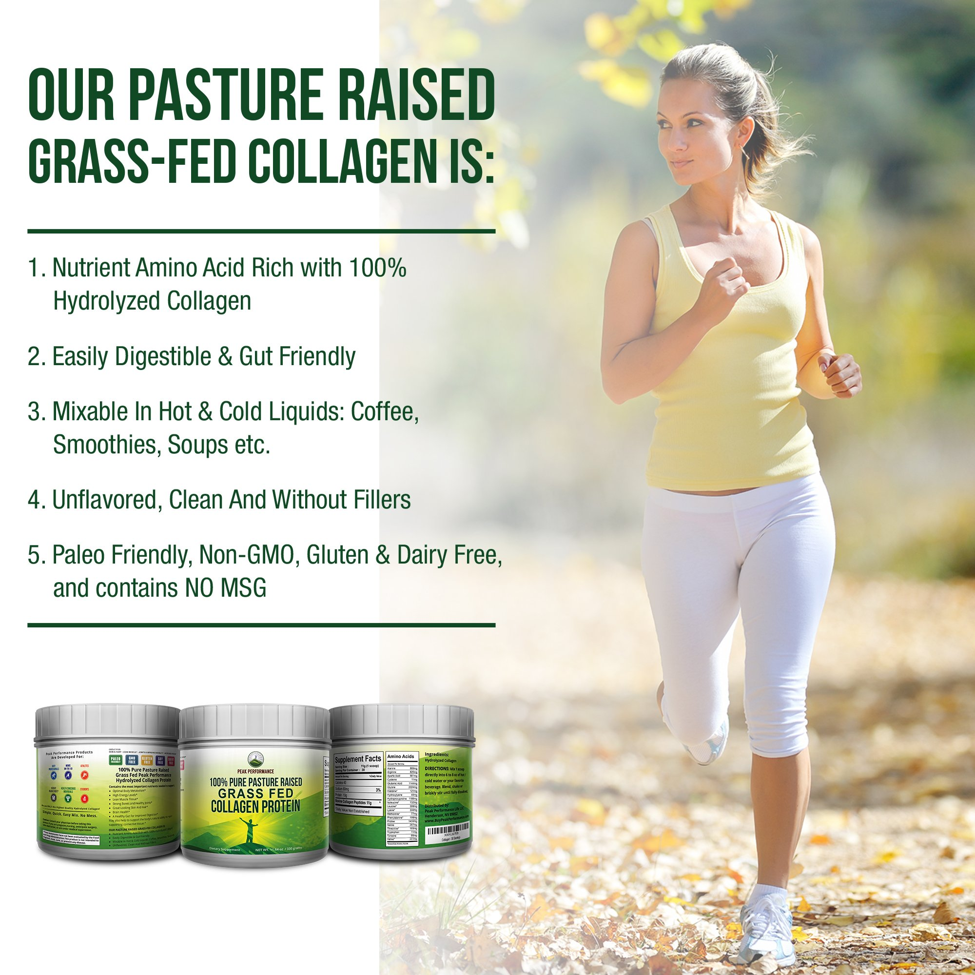 Pure Pasture Raised Grass Fed Hydrolyzed Collagen Protein by Peak Performance. Paleo Friendly, Gluten & Dairy Free Collagen Peptides (Unflavored Collagen) by Peak Performance Coffee (Image #9)