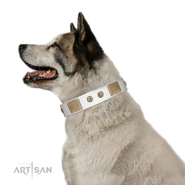 Adatti per 20 pollici (50cm) dimensioni del collo del cane 20 pollici FDT Artisan Elegance Bianco Bianco Collar in pelle 1 /2 pollici (40 mm) Ampio