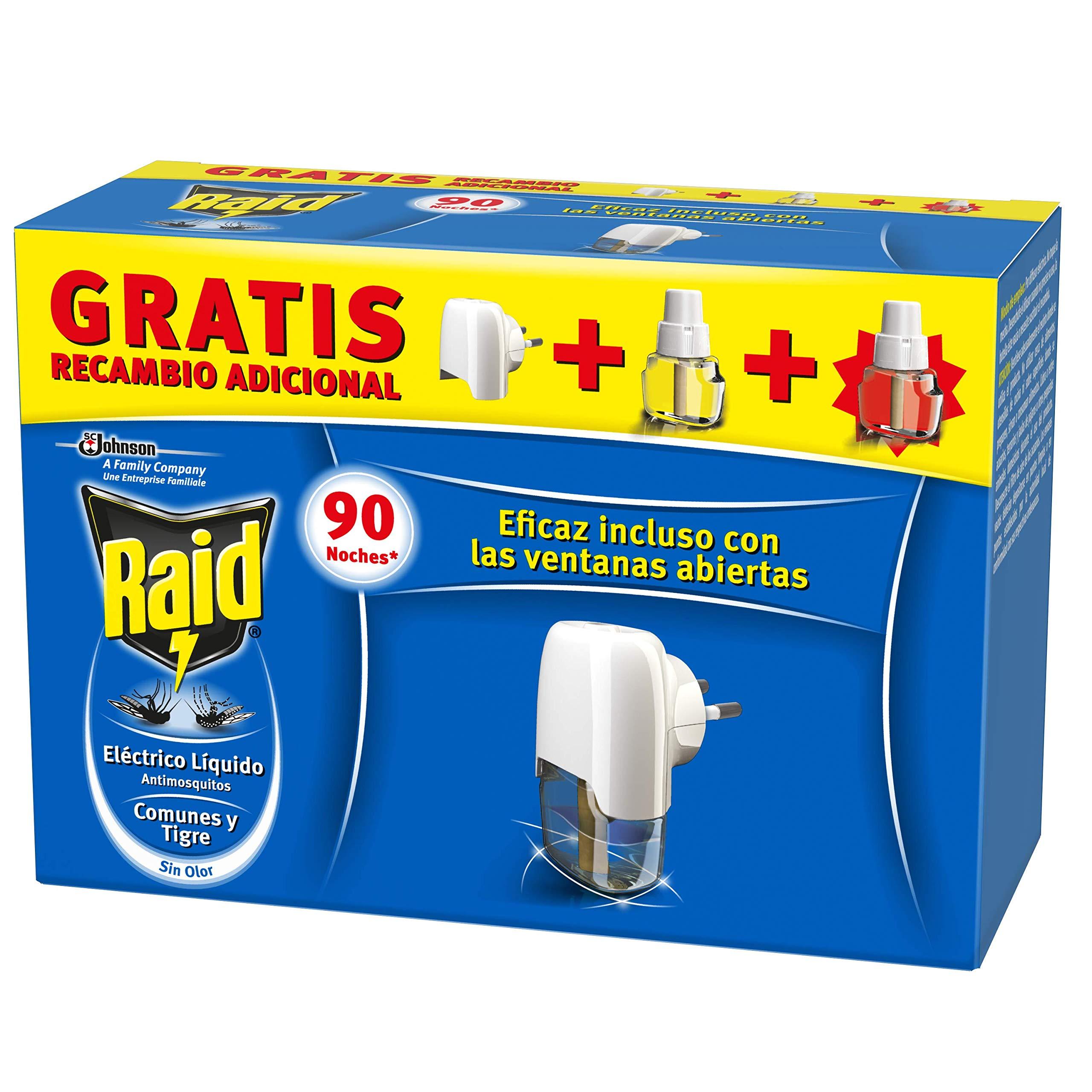 Raid Eléctrico Anti Mosquitos Comunes y Tigre 90 Noches con Aplicador y 2 Recambios - 200 gr, Blanco